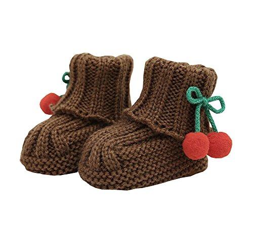 Durable chaussures bébé adorable hiver chaud mignon cerise intérieure Chaussette