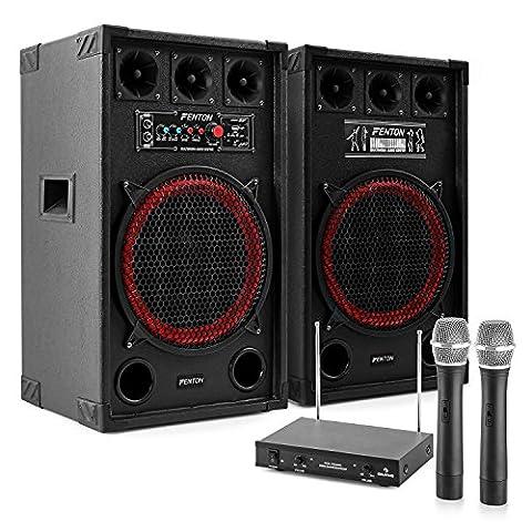 Karaoke-Anlage STAR-Kreuzberg PA Karaoke Boxen Lautsprecher Set mit Funk Mikrofon Set (800 Watt, MP3-fähige USB-SD-Slots, 100m Funkmikrofon Reichweite) schwarz