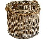 Großer Pflanzkorb/Holzkorb rund aus grauem Natur Rattan Ø60cm mit Seilrand / geflochtener Übertopf aus Rattan / Größe XXL auch als Holzkorb einsetzbar - Versandkostenfrei in DE
