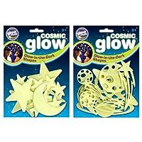 The Original Glowstars Company B8987 Cosmic Glow Moon, Stars and Galaxy (Pack of 2)