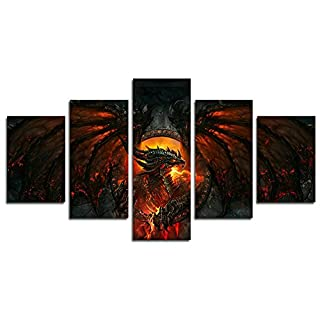 Leyruk 5 Piece World of Warcraft Cataclysm painting for living room home decor Canvas art wall poster (No Frame) Unframed HY45 The Perfect Choice for Home Decor and Wall Decor size: 50 inch x30 inch
