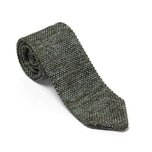 Hochwertige Strickkrawatten aus 100% Seide 5,5cm Breite – Grün – einfarbig – Klassische Herren Grenadine Krawatten für Anzug oder Freizeit – Geschenk für Männer – VON FLOERKE (60er-jahre-smoking)