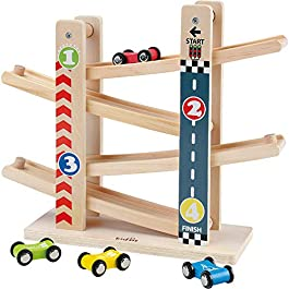 Pista per Auto in Legno,Il Primo Giocattolo da Pista in Legno per Bambini della Prima Educazione,A