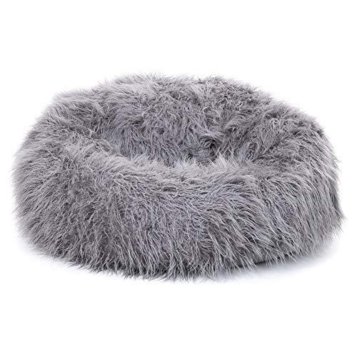 """Icon Klassischer Sitzsack aus mongolischem Kunstpelz \""""Yeti\"""", Sitzsäcke für das Wohnzimmer, Groß, Stuhl für das Schlafzimmer (Anthrazitgrau)"""