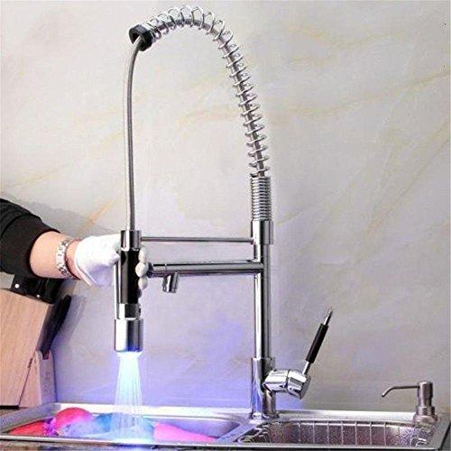 LHbox Tap Feldspritze Auswurfkrümmer Küchenarmatur Kupfer Kalt-und Warmwasser Mischventil Pull-down Küchenarmatur spüle Geschirr Töpfe aus Messing Beschläge Doppelfeder Wasser schwenken - Pull-down-spüle