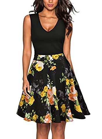 MIUSOL Women's Vintage 1940s Tea Floral Sleeveless Halter sual Party Dress(Black,M)