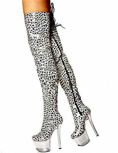 17cm bianco leopard scarpe con tacco alto stivali con / Sexy stivali ginocchio / ultra high heel scarpe donna / Moda Stampa animale,Leopard,US9 / EU40 / UK7 / CN41