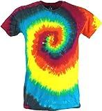 Guru-Shop Regenbogen Batik T-Shirt, Herren Kurzarm Tie Dye Shirt, Spirale 1, Baumwolle, Size:L, Rundhals Ausschnitt Alternative Bekleidung