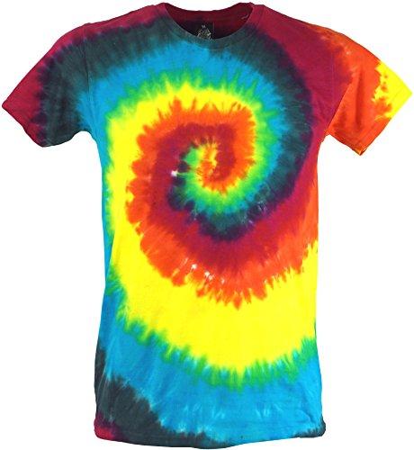 Shirt Kostüm Batik Hippie - Guru-Shop Regenbogen Batik T-Shirt, Herren Kurzarm Tie Dye Shirt, Spirale 1, Baumwolle, Size:L, Rundhals Ausschnitt Alternative Bekleidung