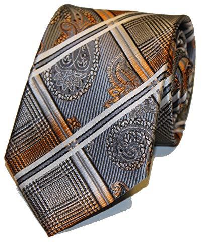 WilRoB Handgemachte Designer Krawatte 100% Seide 8 cm - mit gratis Einstecktuch (Schal Herren Krawatte Seide)