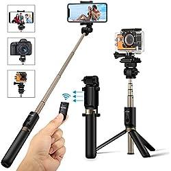 Selfie Stick Treppiede, BlitzWolf 4 in 1 Bastone Selfie Regolabile con Bluetooth per Gopro Fotocamera, iPhone Android, Samsung, Smartphone 3,5-6 pollici, Mini Wireless Asta Selfie Monopiede
