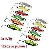 LiGG Trota Pesca Indicatore di direzione Spinning trota esche pesca Spoon ogiva trota, 3cm/3G con diversi colore