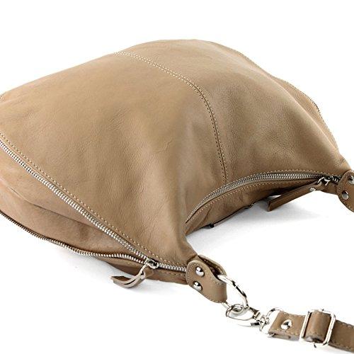 modamoda de - ital. Ledertasche Schultertasche Damentasche Umhängetasche Nappaleder T56 Beigebraun
