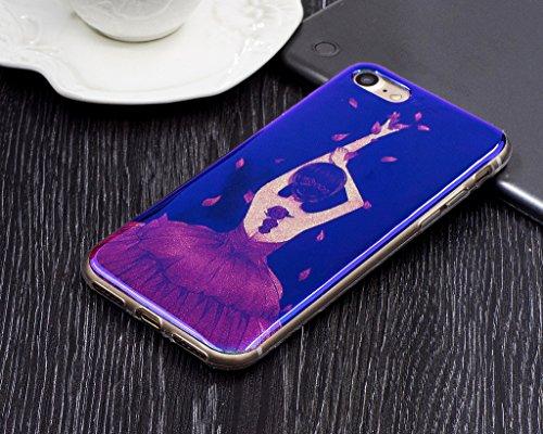 Für iPhone 7 Hülle,iPhone 7 (4,7 Zoll) Silikon Hülle,Mo-Beauty® Klare Ultradünne Silikon Gel Schutzhülle Durchsichtig,Bunte Blumen Malerei Painted Muster Transparent TPU Sillikon Weich Ultra Thin Hand L