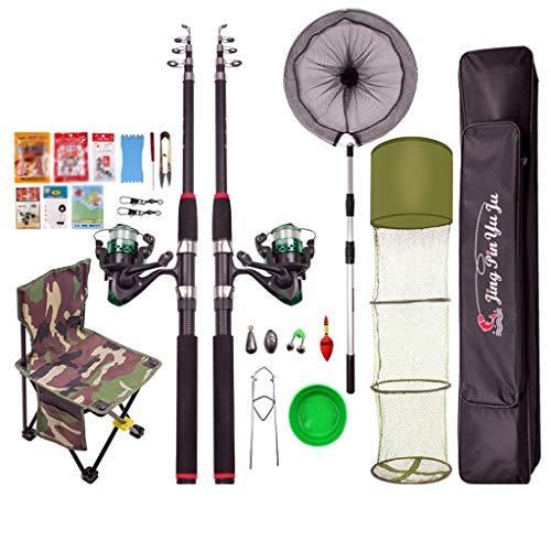 Angelruten-Set-Kombination Seefischerrute Angelzubehör, Anfänger Angelrute und Reel-Set, inklusive Halterungen. (Color : Multi-Colored, Größe : 2.1)