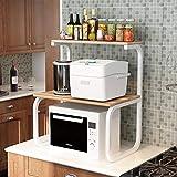 Achun Regal für Küchenutensilien, Regal, Aufbewahrung, Mikrowelle, Backofen, Regal, Würzregal, Holz, 3 Schichten, beige, White Frame