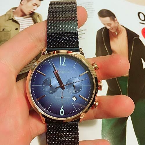 Jusheng Herren Quarzuhr Farbe Zifferblatt Edelstahlband Herren Armbanduhr (Color : 5)
