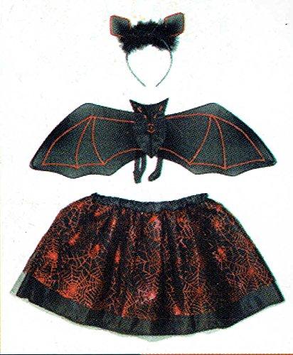 Und Kostüm Rot Tutu Schwarz - kaiser24 Mädchen Damen Tutu Set Fledermaus Halloween Kostüm (Tutu Set Fledermaus (schwarz/rot))