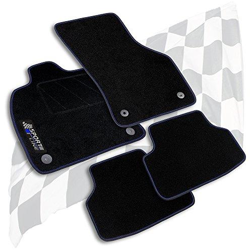 Bär-AfC VW04319 Sport Line Auto Fußmatten Nadelvlies Schwarz   Bandeinfassung mit Blauer Ziernaht   Stick Blau & Grau   Set 4-teilig   Passgenau für Modell Siehe Details