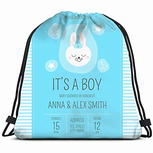 cute baby shower boy invite card animals wildlife holidays Drawstring Backpack Gym Sack Lightweight Bag Water Resistant Gym Backpack for Women&Men for Sports,Travelling,Hiking,Camping,Shopping Yoga