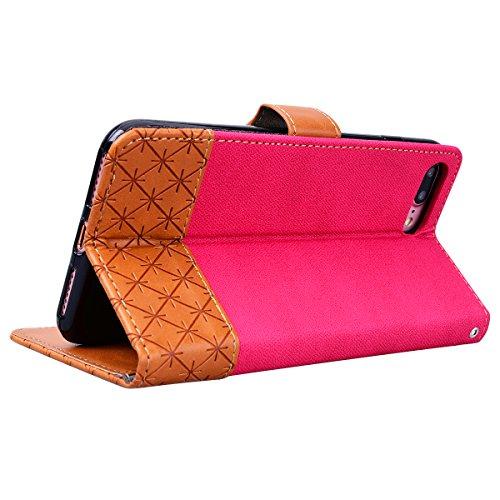 GrandEver iPhone 7 Plus Hülle Ledertasche Schutzhülle Retro Lederhülle Scratch Ledercase Schale Umschlag Stil Wallet Flip Case Cover mit Weich Silikon Handyhülle für iPhone 7 Plus Tasche Standfunktion Rose Rot