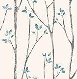 Fine Décor uw24777Scandi Baum Seitenwand, blau