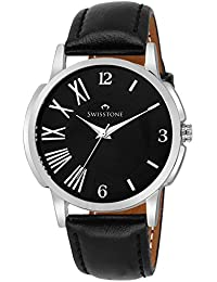 Swisstone SW-GR103-Black Dial Black Leather Strap Analog Wrist Watch For Men