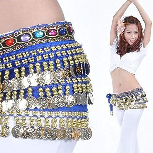 (J.O.Y, Hüftschal mit farbigen Diamanten und Goldmünzen, Rock für Bauchtanz, Kostüm für Damen und Mädchen, königsblau)