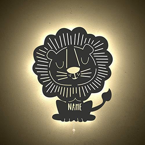 Nachtlicht Leo der Löwe Kinderzimmer-Lampe/Tauf-Geschenk oder zur Geburt/Personalisiert mit Wunsch-Name für Mädchen oder Jungen Schlummerleuchte Babyzimmer Stilleuchte [Energieklasse A++]