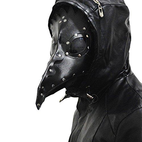 Plague Maske Cosplay Kostüm Halloween Doktor Erwachsene Schwarz PU Leder Maskerade Mask