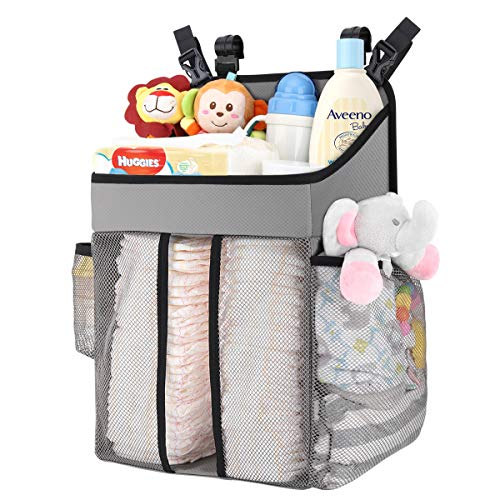Zooawa Hanging Crib Organizer, Large Capacity Hanging Diaper Caddy Nursery Bag Crib Diaper Organizer for Diapers Wipes Baby Essentials Storage - Gray