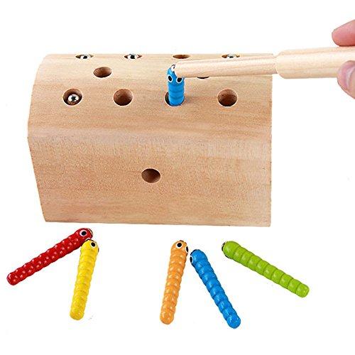 Espeedy Kinder Puzzle Cartoon Spielzeug Holz Fang Worms Spiel Magnetische Baby Hand Auge Koordination Übung Kid Pädagogisches Spielzeug (Hand-auge-koordination Spielzeug)