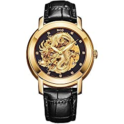 Angela Bos Men's Hollowed Chinese Dragon Fashion Mechanical Waterproof Wrist Watch Black Dial Black Calfskin Band