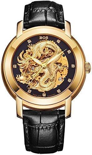 Angela Bos hombres ahuecadas dragón chino de moda reloj de pulsera mecánico impermeable negro dial Negro Piel de becerro Band