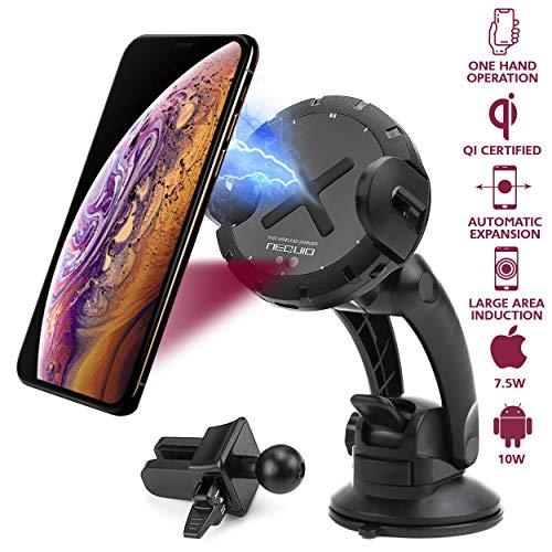 NEQUIO X - Qi-zertifiziertes Wireless Charger Auto - Motorisierte Automatische Handyhalterung für iPhone XS Max/XR/8 Plus; Samsung Galaxy Note 9/S10/S9/S8/S7, Huawei P30 Pro & andere Qi Smartphones