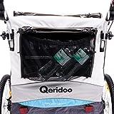 Qeridoo Sportrex 2 Deluxe (inkl. Sitzpolster) Kinder-Fahrradanhänger für 2 Kinder (mit einstellbarer Federung) - blau -