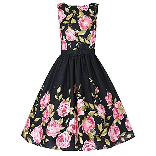 Babyonline Damen Retro Kleider Ballleid 1950er 1960er Jahre Kleid Rockabilly Housewife Hausfrau Swing Pinup Kleid Schwarz XL