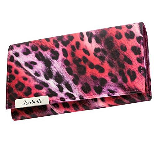 Cadenis Damen-Geldbörse Leoparden-Muster mit persönlicher Laser-Gravur Geldbeutel pink Querformat 19x9,5cm