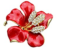 Cosanter Brooch Pins Women Jewelry Crystal Rhinestone Lily Flower Design Scarves Shawl Clip(Red)