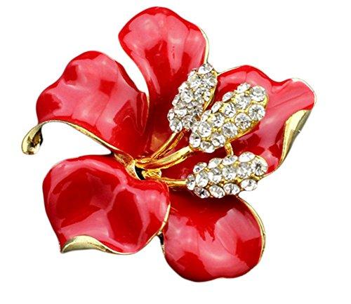 Kanggest 1Stück Brosche Lilienblumen Form Frauen / Hochzeitsbrosche Legierung Broschen Kleidung Dekoration Brosche Damen Schmuck Zubehör Brooch (Rot)