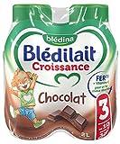 Blédina Blédilait - Lait bébé Croissance Chocolat de 10 mois à 3 ans 4 x 500 ml - Lot de 3