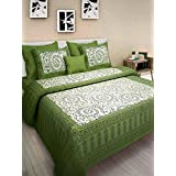 JAIPUR TO HOME Cotton Comfort Rajasthani Jaipuri Traditional king size 1 Double Bedsheets with 2 Pillow Covers_P85-Green