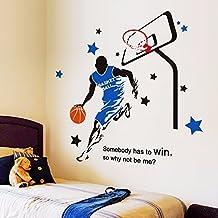 Wall Sticker Collage University School masculino ornamento de pared del Dormitorio Dormitorio Deportes Baloncesto Estrellas Fan Cesta de 113x114cm.