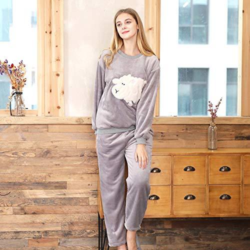 Yshuiyi Pyjamas Frauen Langarm Korallen Fleece Pyjamas Damen Winter Flanell Hause Service Anzug