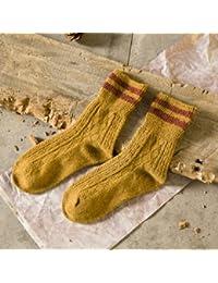 GRHY línea gruesa montón montón de otoño e invierno calcetines de algodón Camisa dos gruesos calcetines de lana caliente botas Retro, un tamaño,Cúrcuma 5 pares