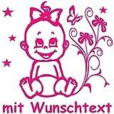 Hoffis Premium Babyaufkleber mit Name/Wunschtext Baby Kinder Autoaufkleber - Motiv 1309 (16 cm) - Farbe und Schriftart wählbar