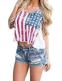 NINGNETI Blusa con Estampado De Bandera Americana Y Chaleco con Estampado De Bandera Americana De Moda De Verano para Mujer