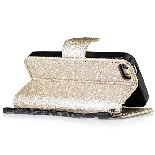 Slynmax Cover iPhone 5s iPhone SE Custodia Flip Case Pelle PU Cuoio Morbida Libro Magnetico Portafoglio Wallet Modello di Posta Design di Lusso in nero + 1* Stilo Stylus Penna Capacitiva Gold