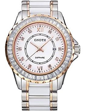GNOTH Frauen Schöne Mode Rose Gold Weiß Keramik klassisch Quarz Armbanduhr mit Edelstahlband