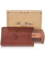 Mr. Avery's - Premium Bartkamm - Echtholzkamm aus Sandelholz mit Etui - geeignet für die tägliche Bartpflege - besonderes Geschenk für bärtige Männer